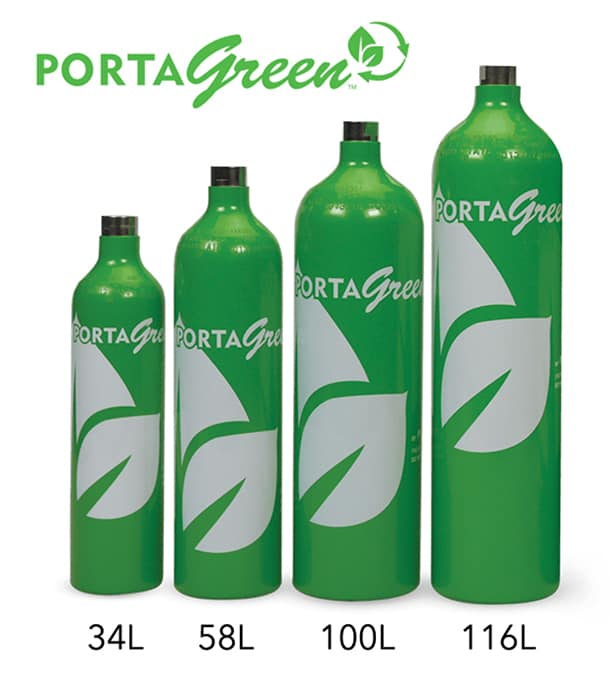 portagreen recyclable cylinders logo with cylinders of various sizes